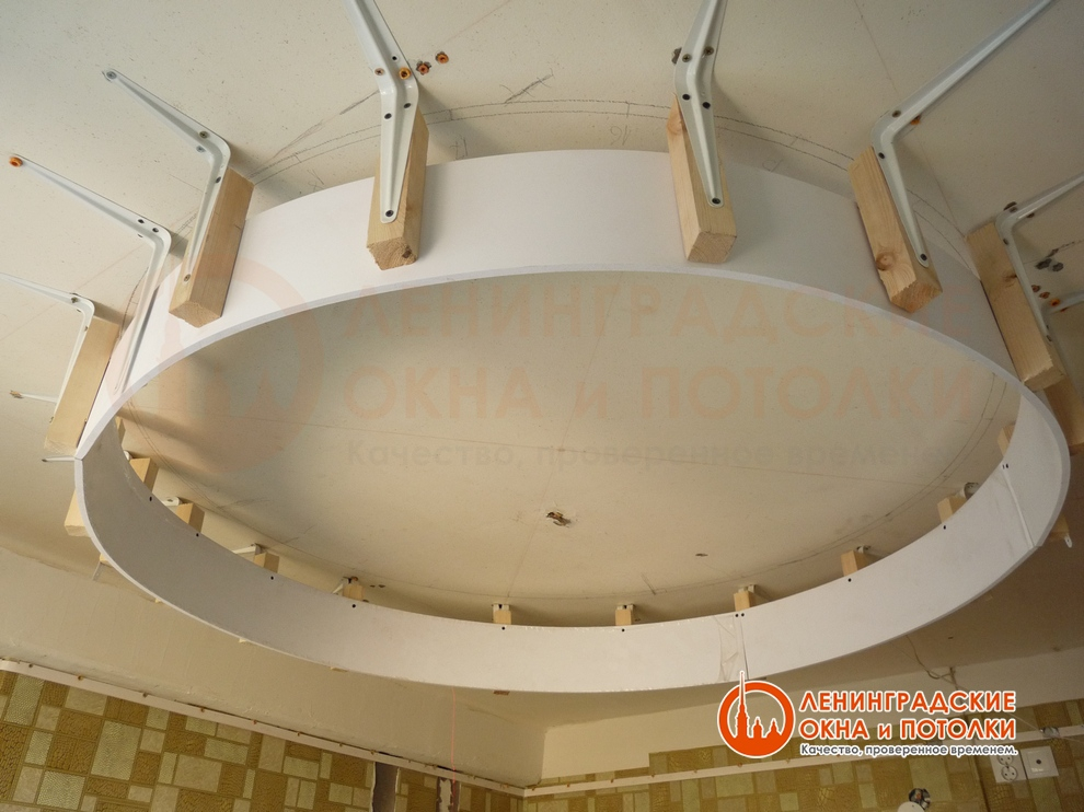 Многоуровневые натяжные потолки монтаж